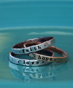 Skinny Message Rings from The Vintage Pearl.  You can put any word you want on them!!  How about your word for the year?