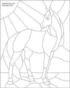 B Stained Glass Pattern: Young Horse