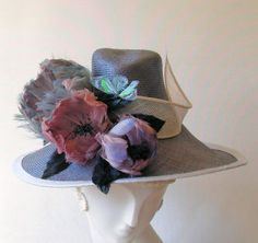 Coutoure Hats: April-Exquisitely shaped hat decorated with large feather flowers-grey and shades of heather, lilac--made in England English Hats, Chapo, Royal Ascot Hats, Large Feathers, Bar Mitzvah, Tea Party, Lilac, Cinderella, Fascinators