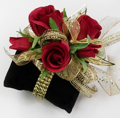 Red rose corsage on gold Rock Candy bracelet. Gold Corsage, Wrist Corsage Wedding, Prom Corsage And Boutonniere, Boutonnieres, Bracelet Corsage, Candy Bracelet, Candy Flowers, Prom Flowers, Forearm Sleeve Tattoos