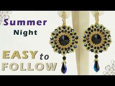 beading tutorial summer night earrings - YouTube