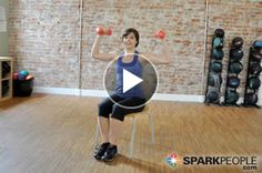Nursing a lower body injury? This chair-based workout for the upper body strength-training routine is a great way to stay in shape! 9-Minute Seated Arm and Shoulder Video | via @SparkPeople #fitness #exercise