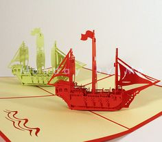 3D Popup Card Pirate ship on Etsy, $9.99