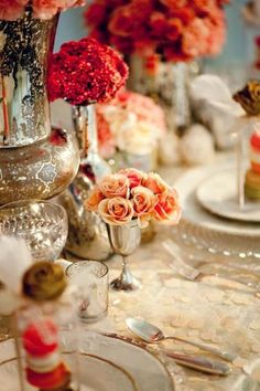 very romantic and lush table setting