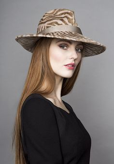 Rachel Trevor Morgan Millinery Autumn Winter 2015 R15W34 Zebra print trilby hat