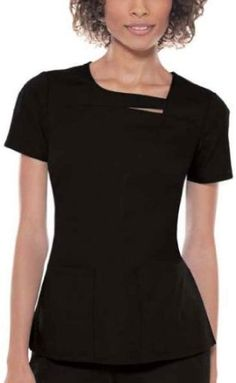 Baby Phat 26871 Solids Women's Asymmetrical Neck Scrub Top