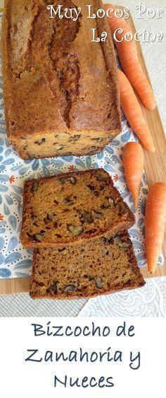 """Bizcocho de Zanahoria y Nueces: La famosa tarta de zanahoria o """"carrot cake"""" en forma de bizcocho. Puedes encontrar la receta en www.muylocosporlacocina.com."""