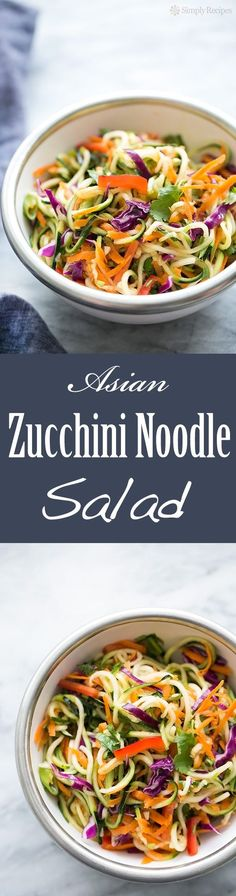 Asian Zucchini Noodle Salad Zucchini noodles with cabbage carrots red bell pepper green onions tossed with a sesame rice vinegar dressing. Light fresh and easy! Zoodle Recipes, Spiralizer Recipes, Vegetarian Recipes, Cooking Recipes, Healthy Recipes, Vegetarian Tapas, Tapas Recipes, Crab Recipes, Freezer Recipes