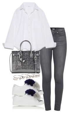"""""""Untitled #3019"""" by theeuropeancloset ❤ liked on Polyvore featuring Paige Denim, Here/Now, Yves Saint Laurent and Maison Margiela"""