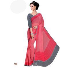 Party Wear Georgette Red Saree - RKAM129