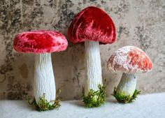Monday has been Mushroom day at my house~ all these mushrooms will be in my Etsy shop Vintage Handmade tomorrow. mossy fingers, p...
