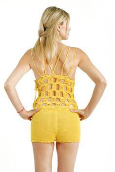 Mulher crochet topgeometric sexy sleevless blusa por kikapaca