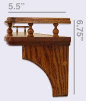 wood shelf rail | Country Shelf with gallery rail and mug pegs, side view