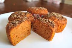 Muffins De Patates Douces Sweet Potato Muffins with Flax Topping by Good In The Simple – Station De Recettes Sweet Potato Muffins, Paleo Sweet Potato, Sweet Potato Recipes, Muffin Recipes, Breakfast Recipes, Paleo Breakfast, Breakfast Ideas, Muffin Bread, Baked Goods