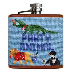 Party Animal Needlepoint Flask in Light Blue by Smathers & Branson Needlepoint Belts, Needlepoint Designs, Stitch Witchery, Get The Party Started, Animal Party, Hand Stitching, Light Blue, Crafts, Cheers