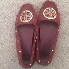 Tory burch moccasins suede In great condition just too small for me. Some wear on the top of shoes shown in pic. Maroon color Tory Burch Shoes Flats & Loafers