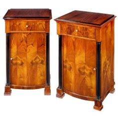 Pair of Architecturally Designed Biedermeier Night Stands/Side Tables