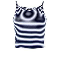 Teens. Opt for a nautical feel, pairing this stripe cami with red shorts and sandals.- All over print- Shoestring straps- Casual fit- High neckline