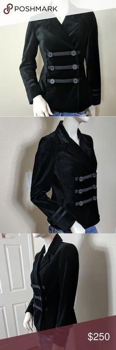 Magashoni Black Velvet Double Breasted Blazer 4 Magashoni Black Velvet Blazer Size 4  No signs of wear Magaschoni Jackets & Coats Blazers