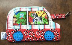 Zipper Wristlet Zipper Pouch Car bag Kids by CapeCodSewingCreates