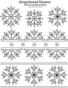 Gingerbread dreams embroidery pattern; snowflake patterns -- love the one down the middle for a table runner -- red on white
