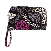 """Vera Bradley Zip Zip Wristlet in Canterberry Magenta SKU #13098149    7"""" x 4 ¼"""" with 6"""" removable wrist strap Details      Two separate compartments, both with easy-access L-shaped zip closures     Inside the large compartment: four credit card slots, a bill holder and an ID window     Small compartment will accommodate a phone     Removable 6"""" wrist strap  Care Tips Machine wash cold, gentle cycle, only non-chlorine bleach when needed, line dry"""