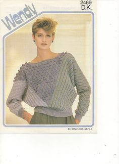 1980s Ladies Batwing Textured Jumper Knitting Pattern by tinpotlil