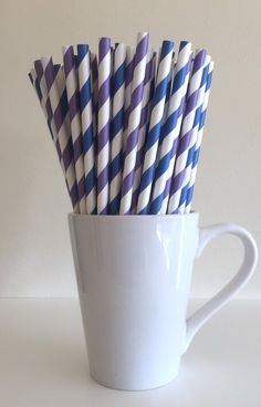 Blue and Purple Striped Paper Straws Midnight Blue and Purple Party Supplies Party Decor Bar Cart Accessories Cake Pop Stick Mason Jar Straw