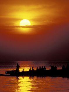 Boat at sunset on Lake Tanganyika,  TANZANIA