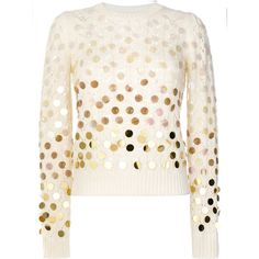 Marc Jacobs sequined open-knit sweater (37,880 INR) ❤ liked on Polyvore featuring tops, sweaters, open knit top, white sequin sweater, white embellished top, embellished top and white sequin top