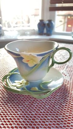 Stunning Spring Freesia Franz Porcelain Tea Cup and Saucer