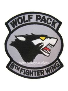USAF Air Force F-16 Fighter 8th Fighter Wing Kunsan AB Korea Wolf Pack Patch by MilitaryMahogany on Etsy