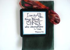 Verse Plaque & fabric Bag.  I can do all things by WordofGod, $12.00 #castteam #sfetsy #capsteam #verseart #christian  #verse #WordofGod