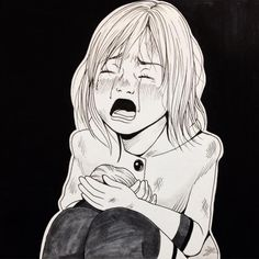 Sad girl crying n.18 #inktober #inktober2015 #art #original #girl #illustration #accident #comic #copic #女の子 #イラスト #crying #ink