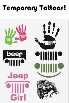 Sheet of Fun Temporary Jeep Tattoos ! Click Image to visit website to order if you like them!