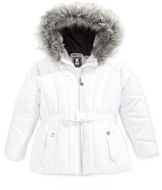 Deep Discount! This has been marked down 78% to $15.99!!!  S. Rothschild Foil-Dot Belted Puffer Jacket with Faux-Fur Trim, Toddler Girls (2T-5T) #wintercoat #girl #toddler #affiliatelink