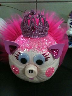 Princess pig - pumpkin decorating, cute pumpkin, pumpkins for kids, pumpkin