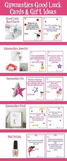 Gymnastics good luck gift ideas along with free printable good luck cards Gymnastics Coaching, Gymnastics Quotes, Gymnastics Posters, Gymnastics Workout, Gymnastics Gifts, Sport Gymnastics, Gymnastics Stuff, Gymnastics Party, Good Luck Cards