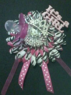 hot pink and zebra baby shower corsage