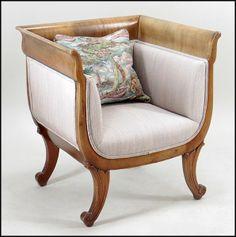 Empire Style Mahogany Tub Chair : Lot 132-1009 #empire #mahogany #tubchair