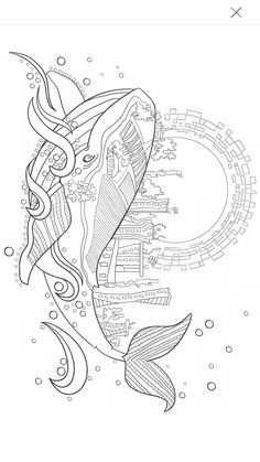 Humpback Whale in the Waves and Seaweed Coloring Page Zentangle I