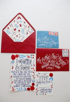 Hand Painted Calligraphy Wedding Invitations by ShannonKirsten, $425.00