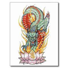 japanese dragon and lotus flower