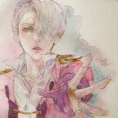 Watercolor doodle for today ugh I'm coughing a lot ... orz...