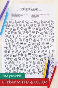 Free Christmas find and color sheet. Fun early finisher or snowy day activity for kids! Free Christmas find and color sheet. Fun early finisher or snowy day activity for kids! Christmas Crafts For Kids, Xmas Crafts, Christmas Colors, Christmas Art, Winter Christmas, Kids Christmas Activities, Kids Printable Activities, Christmas Riddles, Christmas Quiz