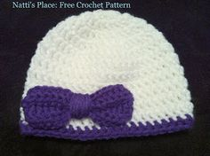 Natti's Place: Free Crochet Pattern: Newborn Baby Bow Hat and Booties