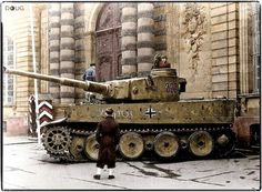 Panzer VI Tiger (Nº.222) of 2./Schwere Panzer-Abteilung 503 on display in front of the Palais Rohan in Strasbourg, France. November 1944.  This was the only Tiger from 2./s.Pz.Abt. 503 that was able to cross the Seine River. It made the crossing at Elbeuf on 25 August 1944. It was later abandoned by its crew at Saussay-la-Champagne about 22 miles east of the crossing point.
