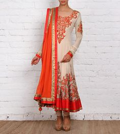 Beige & Orange Georgette Anarkali Suit