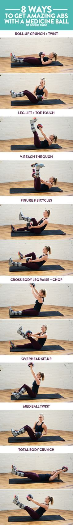 8 Ways to Get Amazing Abs with a Medicine ball. Plus- a mini circuit that you can do to finish off a workout!Here's 8 Ways to Get Amazing Abs with a Medicine ball. Plus- a mini circuit that you can do to finish off a workout! Lower Ab Workouts, Easy Workouts, At Home Workouts, Fitness Workouts, Ab Exercises, Ab Moves, Stability Exercises, Fitness Weightloss, Fitness Motivation