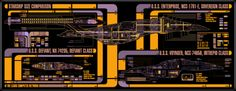 LCARS - Size Comparison - Sovereign Class, Defiant Class, & Intrepid Class,
